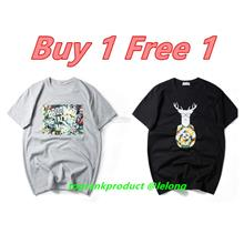 Buy 1 Free 1 @ XXXXL Plus Size Men O-Neck Short Sleeve Cotton T-Shirt