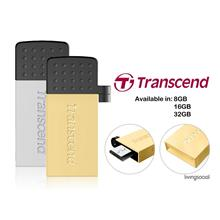 TRANSCEND 8GB JETFLASH 380 USB2.0 OTG FLASH DRIVE -GOLD/SIL
