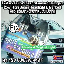 [1798] H4 12V 60/55W P43T E-Mark Bulbs Clear Standard Halogen Low High