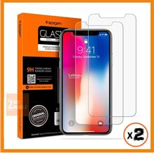 Spigen iPhone X Tempered Glass Notch Cutout case friendly (Pack of 2)
