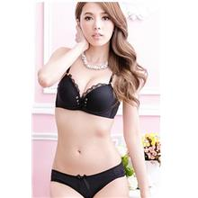 Lovely Lace Front-Tie Push Up Bra Set (Black)