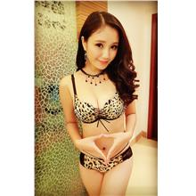 Fashion Front Tie W-cup Bra Set (Yellow Leopard)