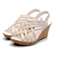 Bohemian Style Cross Wedge Sandals (White)