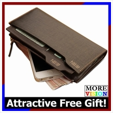 [Free Gift!] Pabojoe Men Long Wallet Premium Genuine Cowhide Leather