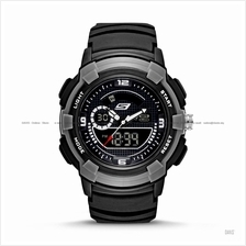SKECHERS Watch SR1073 Men's Digital Negative Silicone Strap Black Grey