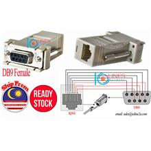 DB9 female to RJ45 8PIN LAN UTP Cable Cat5e Cat6 extension adapter DIY Serial