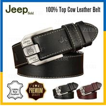 JEEP 100% Top Cow Genuine Leather Dress Belt With Pin Buckle Strap Men
