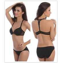 Lace Beauty-Back Bra Set (Black)