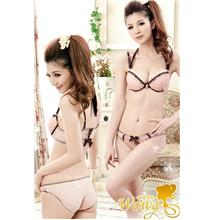 Elegant Beauty-Back Rose Bra Set (Pink)