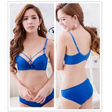 Sexy Cross Push-up Bra Set (Blue)