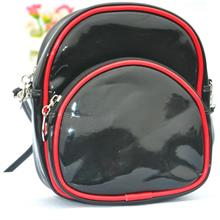 New Korean Fashion Bright Leather Shoulder Bag (Black)