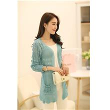 Elegant Hollow Knit Long-sleeve Jacket (Many Colour)