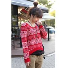 Elegant Long-sleeve Blouse 14933 (Red)