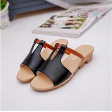 Korea Style Fashion Wedges Sandals (Black)