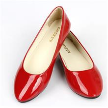 Korean~Candy Color Flat Base Patent Leather Shoes (Red)
