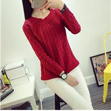 Korea Style Twisted Knit Long Sleeve Blouse (Wine Red)
