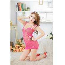 Hot~Transparent Sexy Net Clothes (Rose Red)
