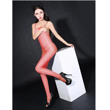 Super Thin Sexy Transparent Sling Open Type Stocking (Red)