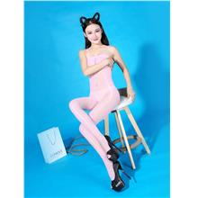 Super Thin Sexy Transparent Sling Open Type Stocking (Pink)