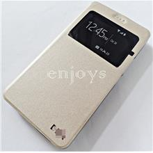 Premium GOLD S View Flip Cover Soft Case for Wiko Robby ~5.5