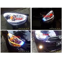 Perodua Myvi '11 2-Function Day Light Audi Style+Angle Eye NO HeadLamp
