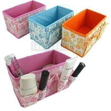 Floral Collapsible Cosmetic Desk Organizer Box Storage Container Bag