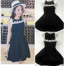 **CELLY**    Flare Black Dress with Flora Lace