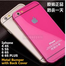 Apple iPhone 4 4S 5 5S 6 6S PLUS Metal Bumper Case with Back Cover