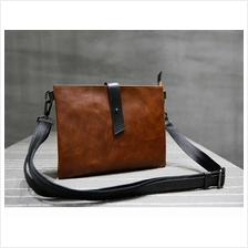 Casual Simple Slim PU Leather Sling Shoulder Bag (Brown)