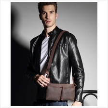 Men Retro Cowhide Leather Waist Shoulder Bag (Brown)