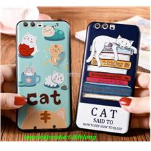 Huawei P10 / Plus 3D Relief Cat Silicone Back Case Cover Casing