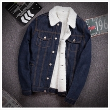 668c27a2269 DOLLYPOODY Unisex Plus Size Thicken Wool Men Denim Jacket Coat (3 Colo