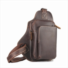 Men Genuine Cow Leather Chest Shoulder Bag (Dark Brown)