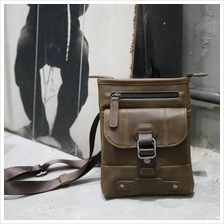 Men Retro PU Leather Waist Cross Body Shoulder Bag (Dark Brown)