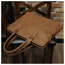 Men High Quality Retro PU Leather Briefcase Laptop Shoulder Bag Brown