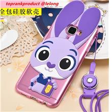 Samsung Galaxy C9 Pro Rabbit Silicone TPU Back Armor Case Cover Casing