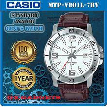 CASIO MTP-VD01L-7BV STANDARD Analog Mens Watch Date Leather Band WR50m