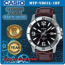 CASIO MTP-VD01L-1BV STANDARD Analog Mens Watch Date Leather Band WR50m