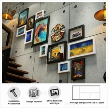 Premium Wooden Wall 12 Photo Frame Decor for House Office Airbnb 0151