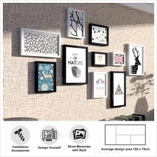 Premium Wooden Wall 10 Photo Frame Decor for House Office Airbnb FRAME
