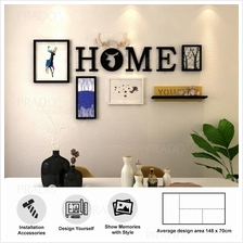 Wooden Wall 4 Photo Frame Decor for House Office Airbnb HOME DEER