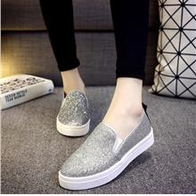 Women Shiny Casual Sneaker Shoes Thick Flat Bottom Plus Size Lazy Peas