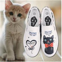 Cat Lovers Hand-painted Design Thick-sole Canvas Sneaker-4 colors (T)
