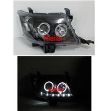 Toyota Hilux Vigo `11 Projector Head Lamp Black LED+DRL