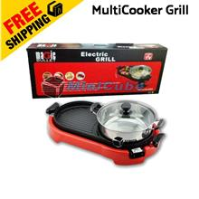 Korea BBQ Electric Steamboat Grill Pan Teppanyaki 2 In 1