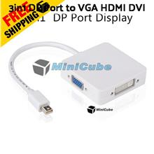 3in1 Apple Mac Thunderbolt Mini DP Port to HDMI VGA DVI (Square)