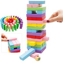48pcs Rainbow colorful Wooden Jenga Compatible Size Building Stacking