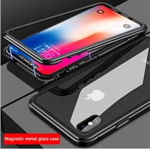 Magnetic Adsorption Flip Case Tempered Glass Back Cover Luxury Metal