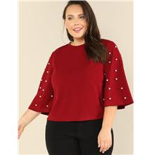 Pearl Embellished Bell Sleeve Top