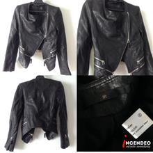 **incendeo** - Authentic KOLOR zipped Leather Jacket for Ladies